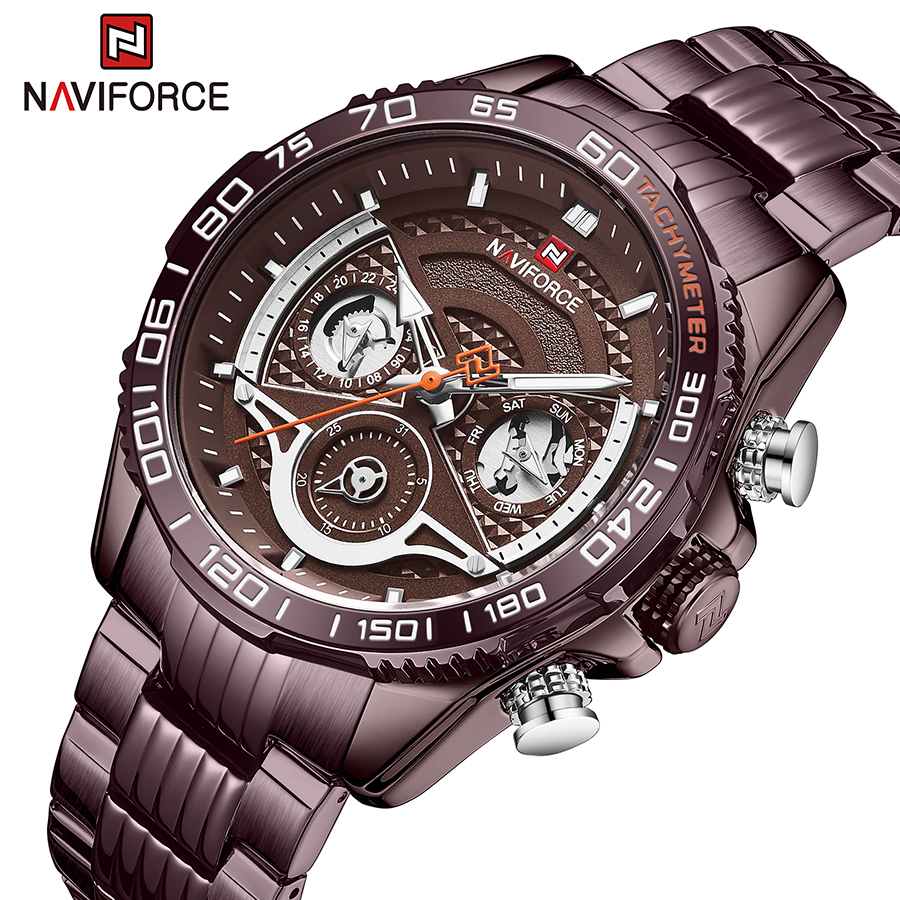 Naviforce NF 9185 Men's Analog Watch With Complete Calendar Stainless Steel Body 30m Waterproof Fashion Business
