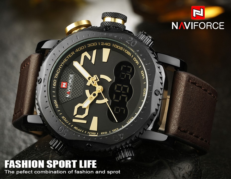 Naviforce NF 9094 Men's Dual Time Analog Digital Genuine Leather Strap Band 30m Waterproof Watch Wristwatch