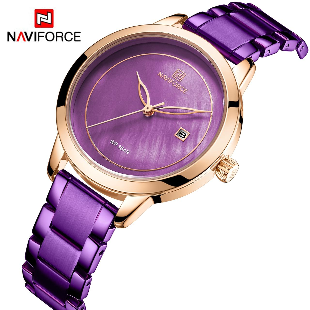 Naviforce NF 5008 Women's Analog Watch With Date 30m Waterproof Stainless Steel Party Wear Casual Fashion