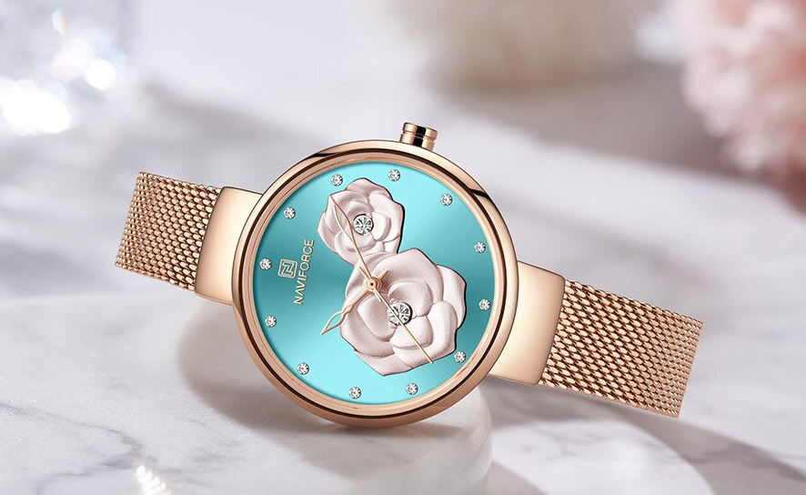 Naviforce NF 5013 Women's Analog Watch Stainless Steel Flower 30m Waterproof Party Wear Wristwatch