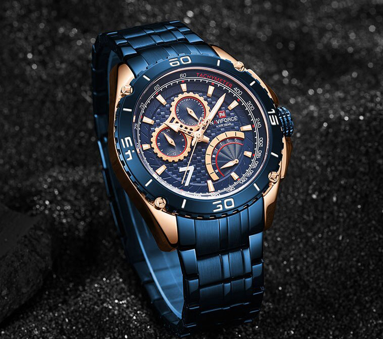 Naviforce 9183 Men's Chronograph Full Calendar Stainless Steel Water Resistant Fashion Party Wear
