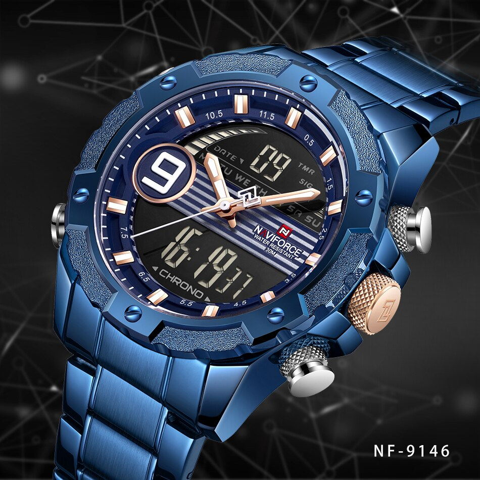Naviforce NF9146S Men's Watch Dual Time Analog Digital Full Calendar Day Date Alarm Light Stainless Steel Chain Full Steel Body 30m Waterproof Party Wear Casual Fashion