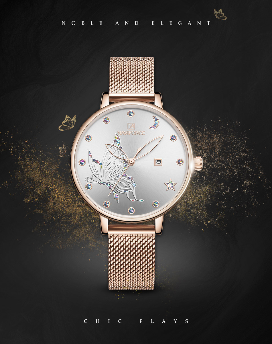 Naviforce NF5011 Women's Watch Analog Time With Date Butterfly Design Party Wear Stainless Steel Sapphire Chain