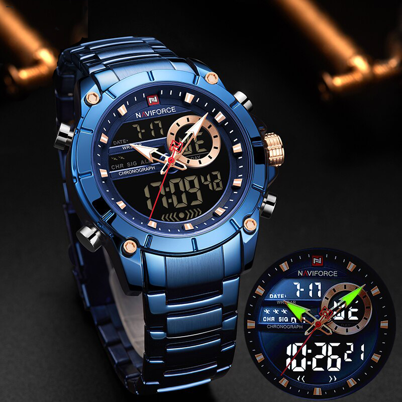 Naviforce Men's Waterproof 30m Watch Dual Time NF9163 Analog Digital Complete Calendar Alarm Light Stainless Steel Body