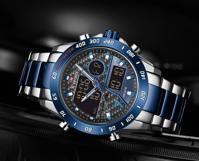 Naviforce NF 9171 Men's Watch Dual Time Analog Digital 30m Waterproof Stainless Steel Fashion Party Casual New
