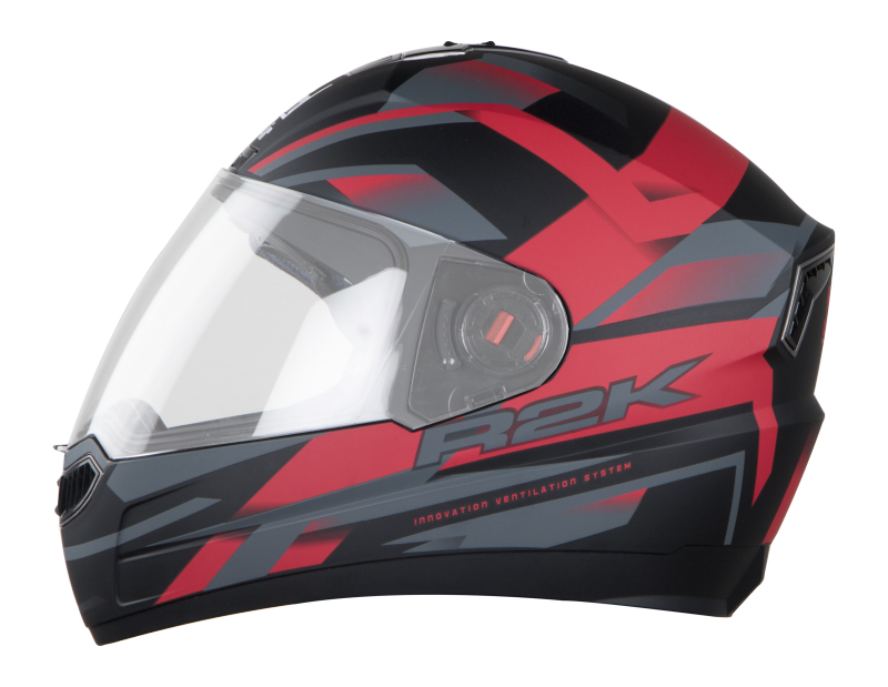 Steelbird Helmet Air R2K Matt Black With Red ABS Shell Antiscratch Visor