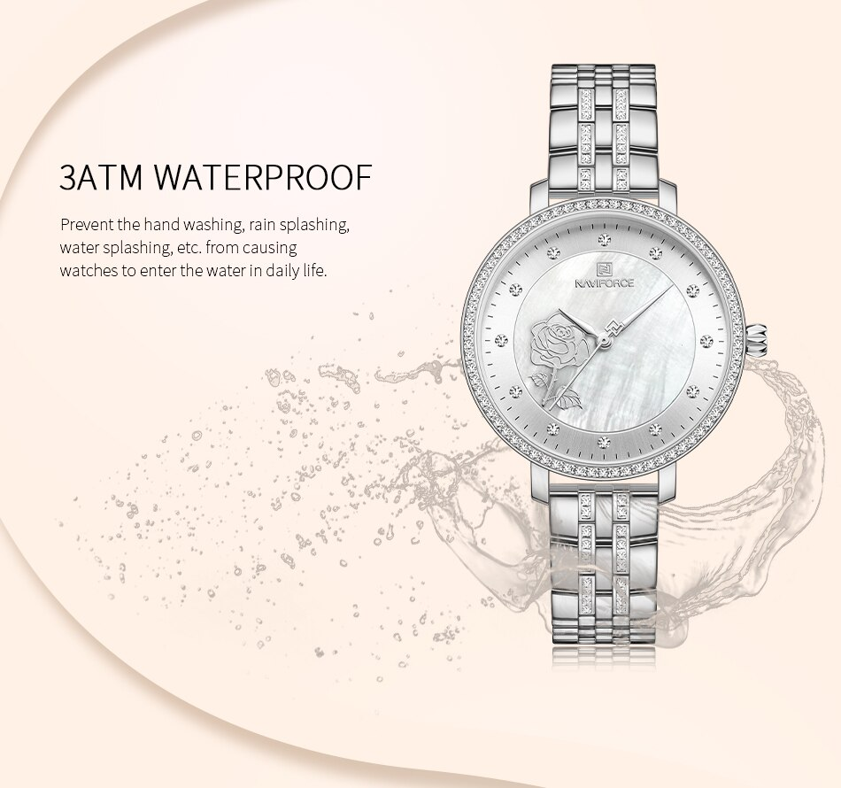 Naviforce Women's Watch NF5017 Waterproof 30m Analog Time Japanese Movement Stone Rose Crafted Stainless Steel WristWatch